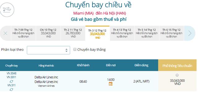 Giá vé máy bay từ Miami đi Hà Nội