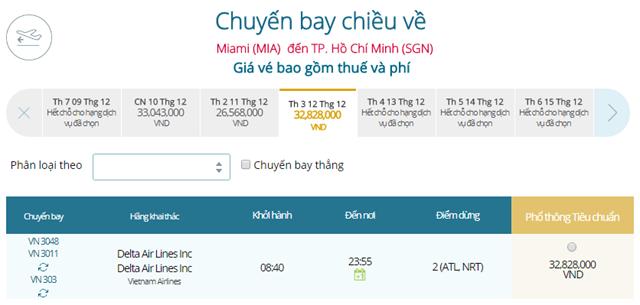 Giá vé máy bay từ Miami đi TPHCM