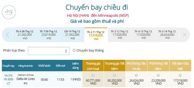 Giá vé máy bay từ Hà Nội đi Minneapolis(MSP)