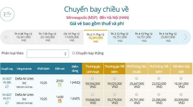 Giá vé máy bay từ Minneapolis(MSP) đi Hà Nội
