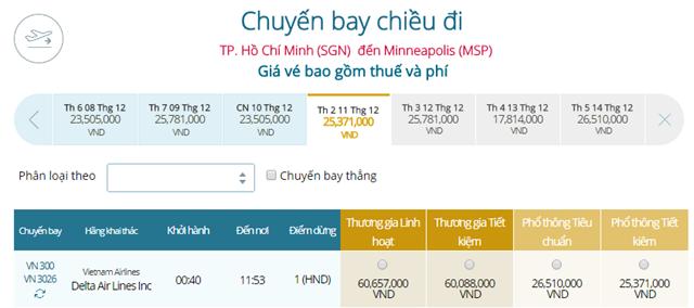 Giá vé máy bay từ TPHCM đi Minneapolis(MSP)