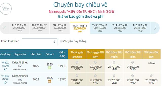 Giá vé máy bay từ Minneapolis(MSP) đi TPHCM