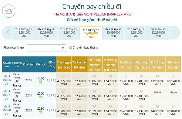 Giá vé máy bay từ Hà Nội đi Montpellier