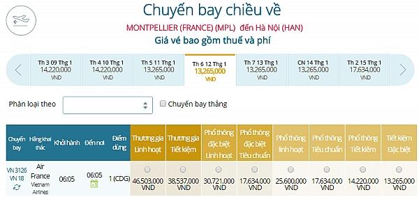 Giá vé máy bay từ Montpellier đi Hà Nội