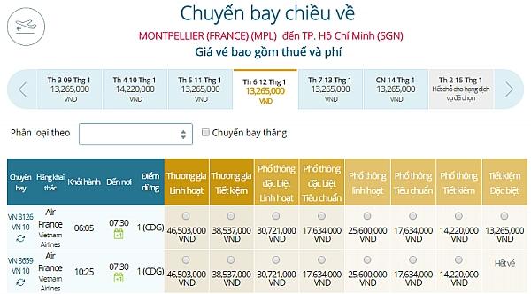 Giá vé máy bay từ Montpellier đi TPHCM