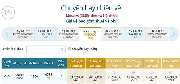 Giá vé máy bay từ Moscow đi Hà Nội
