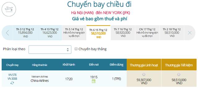 Giá vé máy bay từ Hà Nội đi New York