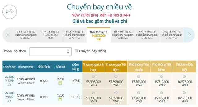 Giá vé máy bay từ New York đi Hà Nội