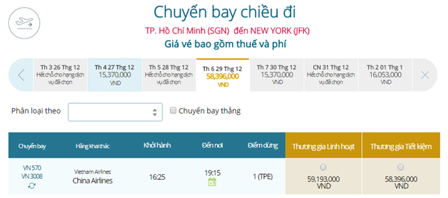 Giá vé máy bay từ TPHCM đi New York
