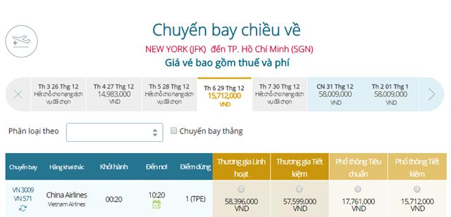 Giá vé máy bay từ New York đi TPHCM