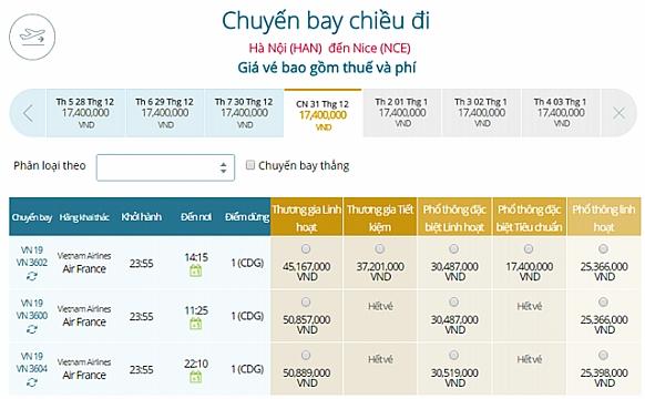 Giá vé máy bay từ Hà Nội đi Nice