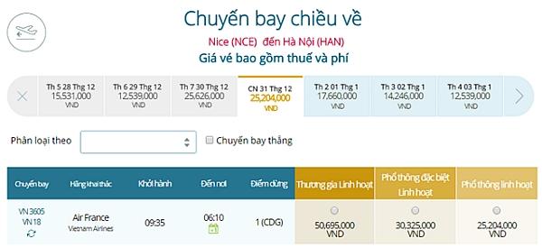 Giá vé máy bay từ Nice đi Hà Nội