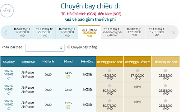 Giá vé máy bay từ TPHCM đi Nice