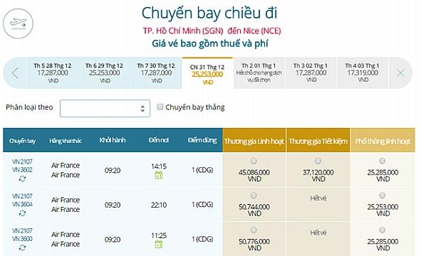 Giá vé máy bay từ Nice đi TPHCM