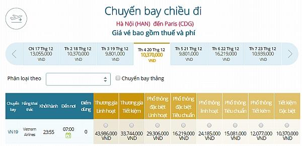 Giá vé máy bay từ Hà Nội đi Paris