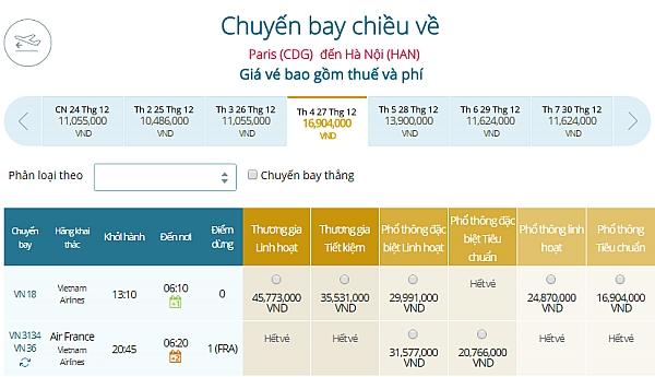 Giá vé máy bay từ Paris đi Hà Nội