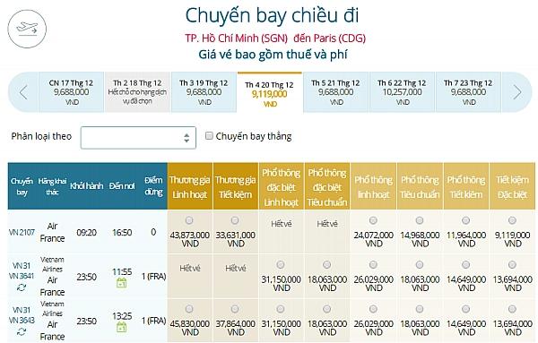 Giá vé máy bay từ TPHCM đi Paris