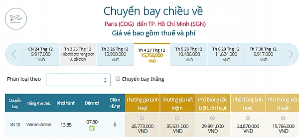 Giá vé máy bay từ Paris đi TPHCM