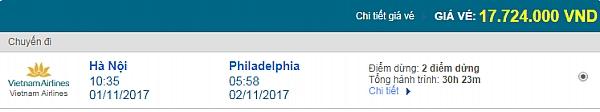 Giá vé máy bay từ Hà Nội đi Philadelphia