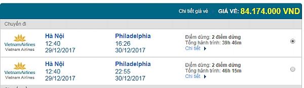 Giá vé máy bay từ Hà Nội đi Philadelphia hãng Vietnam Airlines