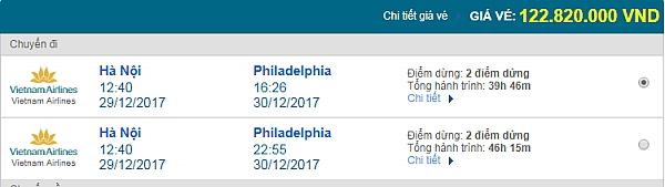 Giá vé máy bay từ Hà Nội đi Philadelphia Vietnam Airlines