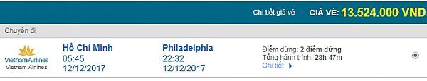 Giá vé máy bay từ TPHCM đi Philadelphia