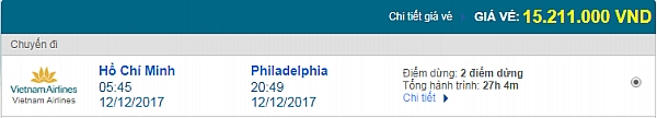 Giá vé máy bay từ TPHCM đi Philadelphia hãng Vietnam Airlines