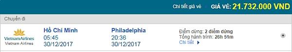 Giá vé máy bay từ TPHCM đi Philadelphia Vietnam Airlines
