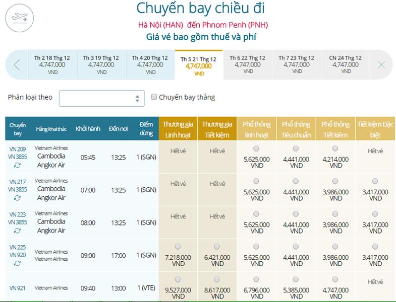 Giá vé máy bay từ Hà Nội đi Phnom Penh