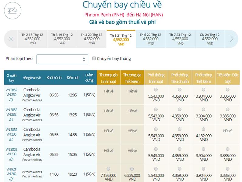 Giá vé máy bay từ Phnom Penh đi Hà Nội
