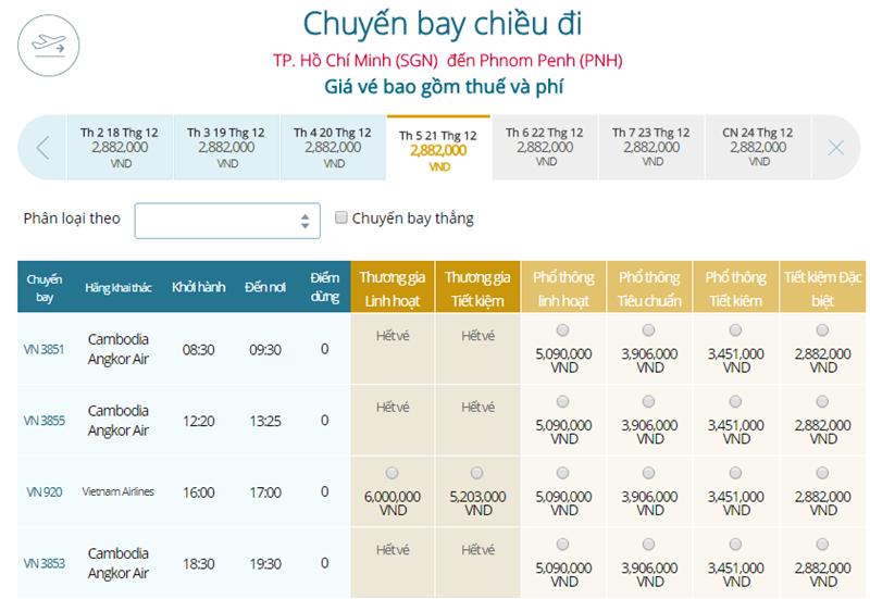Giá vé máy bay từ TPHCM đi Phnom Penh