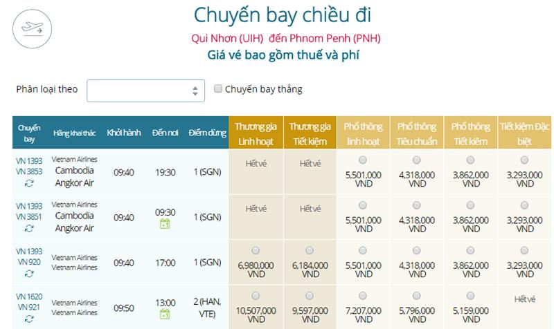 Giá vé máy bay từ Quy Nhơn đi Phnom Penh