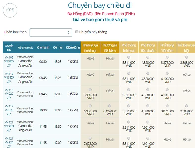 Giá vé máy bay từ Đà Nẵng đi Phnom Penh