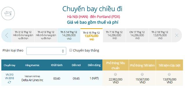 Giá vé máy bay từ Hà Nội đi Portland