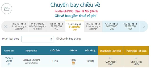 Giá vé máy bay từ Portland đi Hà Nội