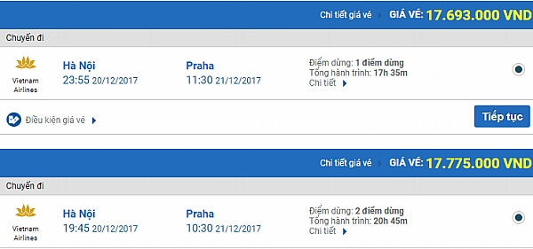 Giá vé máy bay từ Hà Nội đi Praha
