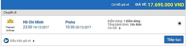 Giá vé máy bay từ TPHCM đi Praha hãng Vietnam Airlines