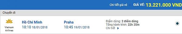 Giá vé máy bay từ TPHCM đi Praha Vietnam Airlines