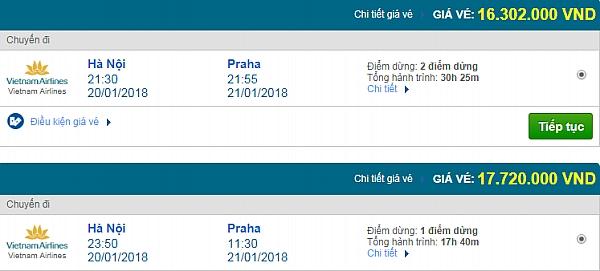 Giá vé máy bay từ Hà Nội đi Prague