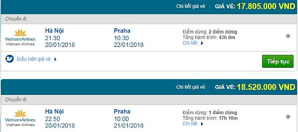 Giá vé máy bay từ Hà Nội đi Prague hãng Vietnam Airlines