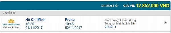 Giá vé máy bay từ TPHCM đi Prague Vietnam Airlines