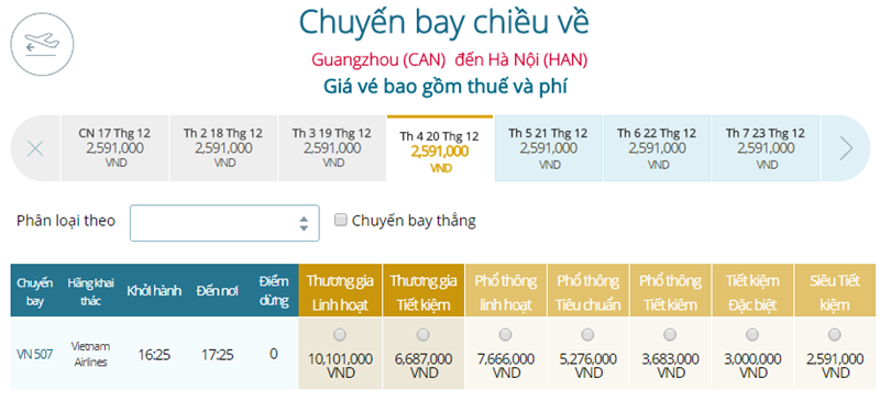 Giá vé máy bay từ Quảng Châu đi Hà Nội