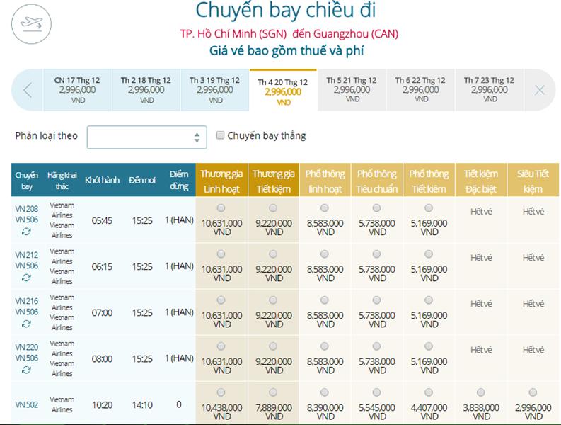 Giá vé máy bay từ TPHCM đi Quảng Châu
