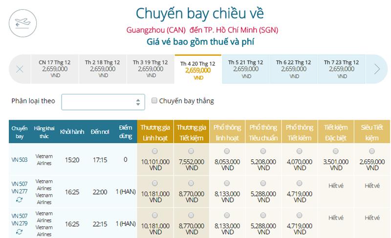 Giá vé máy bay từ Quảng Châu đi TPHCM