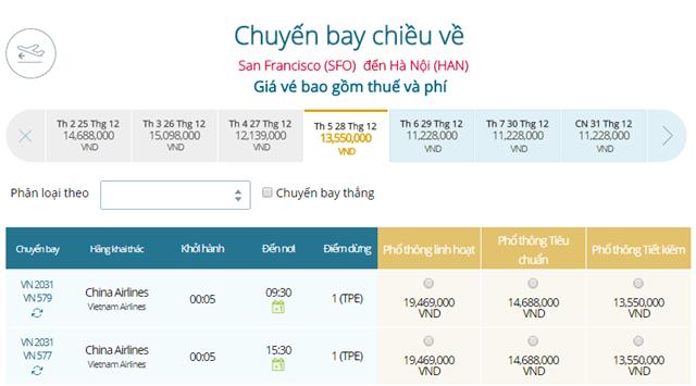 Giá vé máy bay từ San Francisco đi Hà Nội