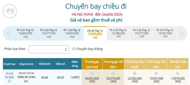 Giá vé máy bay từ Hà Nội đi Seattle