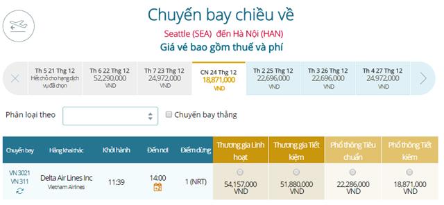 Giá vé máy bay từ Seattle đi Hà Nội