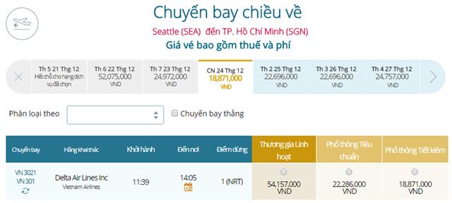 Giá vé máy bay từ Seattle đi TPHCM
