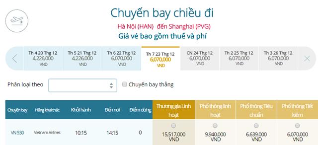 Giá vé máy bay từ Hà Nội đi Thượng Hải