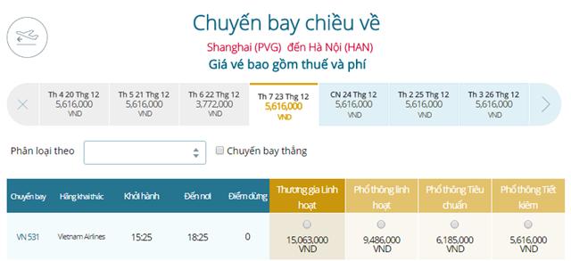 Giá vé máy bay từ Thượng Hải đi Hà Nội